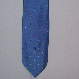 Christian Dior Blue Dotted Polyester Silk Neck Tie